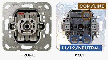 Gira rocker switch wiring points