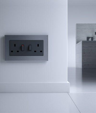 GIRA Esprit Stainless Steel socket in kitchen