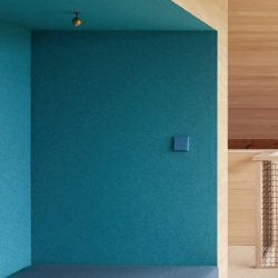 JUNG LS990 light switch in cerulean blue on blue wall