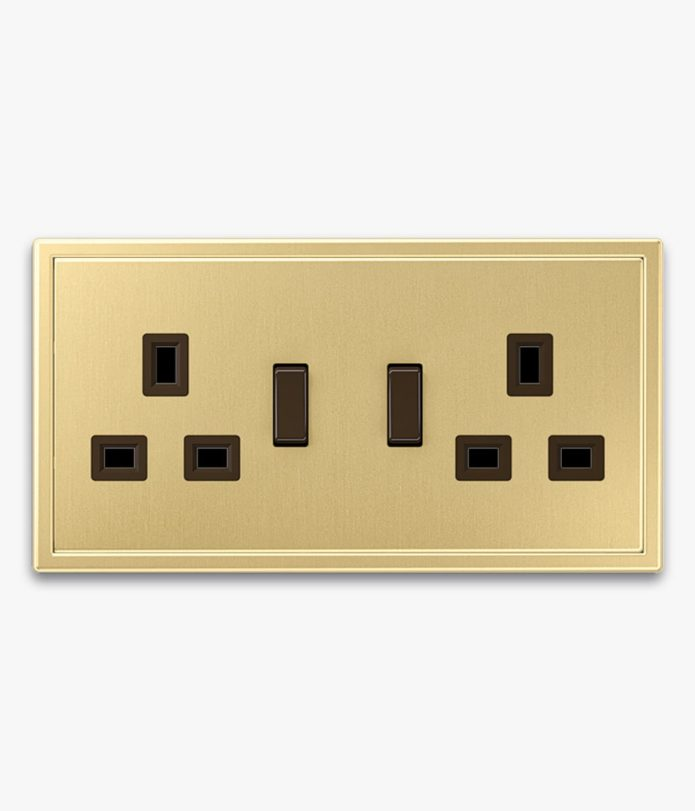 Jung LS990 Brass double switched socket