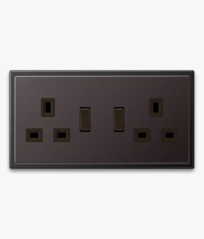 JUNG LS990 double socket in dark metal finish
