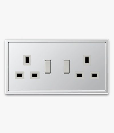 Jung LS990 Aluminium 2-gang switched socket