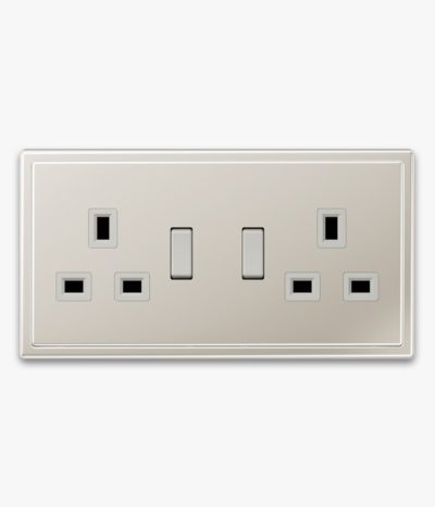 Jung LS990 Stainless Steel 2-gang switched socket