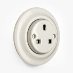 Katy Paty white porcelain round plug socket