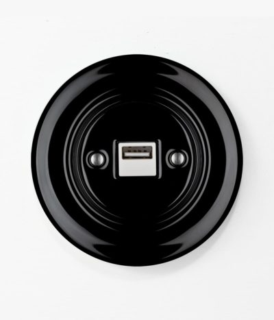 Katy Paty Roo USB charger in black porcelain