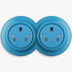 Katy Paty blue porcelain double socket