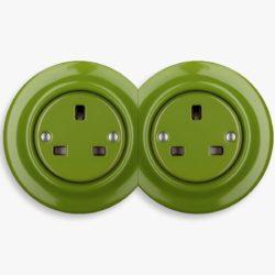 Katy Paty green porcelain double socket