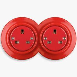 Katy Paty red porcelain double socket