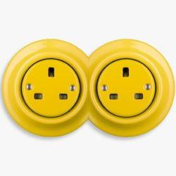 Katy Paty yellow porcelain double socket