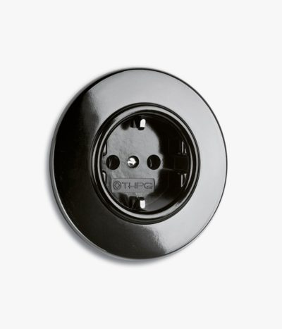 Bakelite EU Socket, round backplate